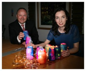Derek Kehoe, CEO of BNP Paribas Ireland with Fireflies Artist in Residence Rachel Tynan. Photo Brian Farrell.