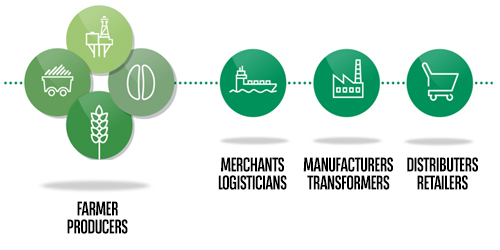 Interactions between farmer producers and merchants logisticians, manufacturers transformers and distributers retailers